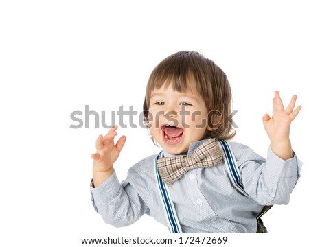 Cute Happy Smiling Laughing Toddler Boy With Mohawk Gel
