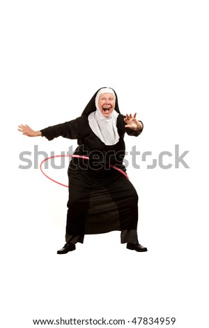 Playful nun on white with plastic hoop - stock photo