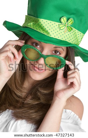Playful St Patricks Girl - stock photo