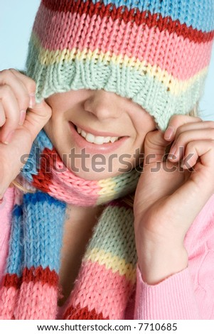 Playful Winter Girl - stock photo