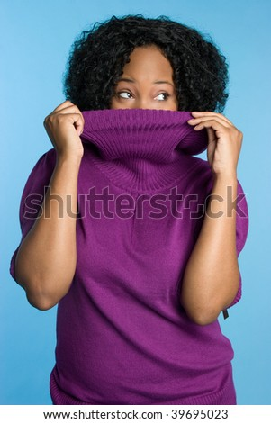 Playful Winter Woman Wearing Turtleneck