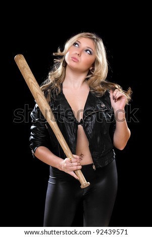 Playful young blonde with a bat in their hands. Isolated - stock photo