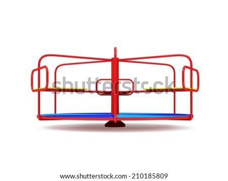 Playground carousel. Merry-go-round isolated on white background - stock photo