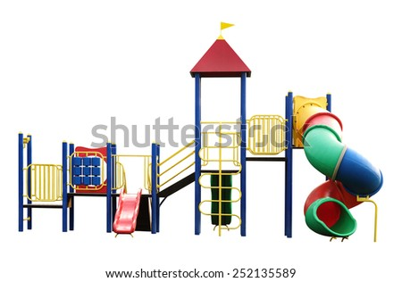 Playground equipment for children isolated on white with fine work path - stock photo