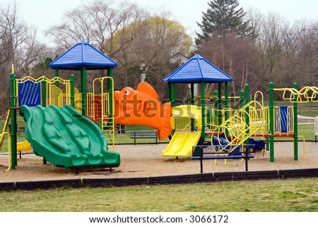 Playground Equipment for Small Children at a City Park - stock photo