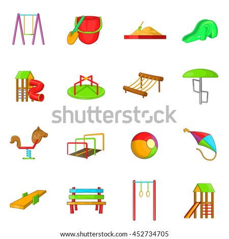 Playground icons set in cartoon style isolated on white background - stock photo