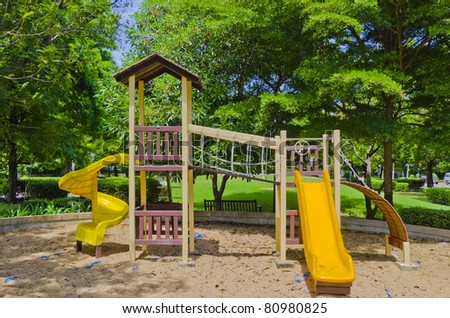 playground in a city park. - stock photo