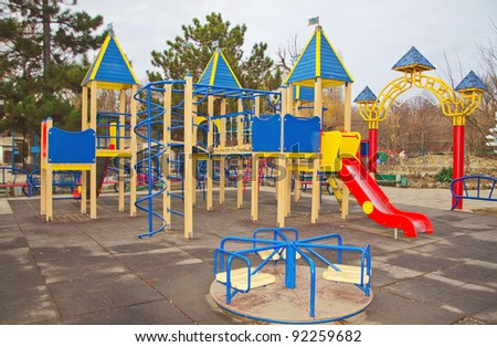 playground in children's park in autumn
