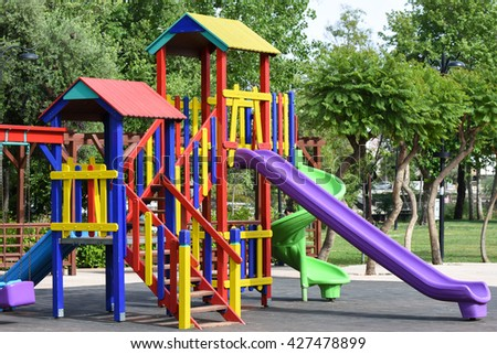 Playground in public park. Colorful playground for children.