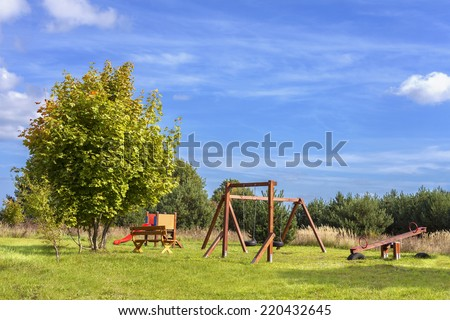 Playground on a fresh air in sunny day. - stock photo