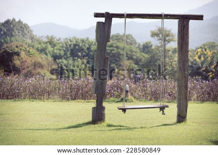 playground swing made wood hanging in green grass field - stock photo