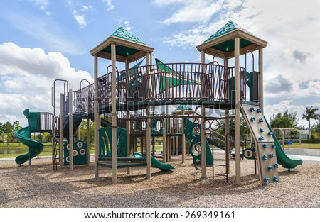 playground with slides and climbing frame, FLorida - stock photo