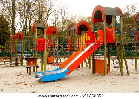 Playground with slides and ladders