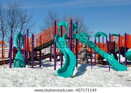 Playground with snow - stock photo
