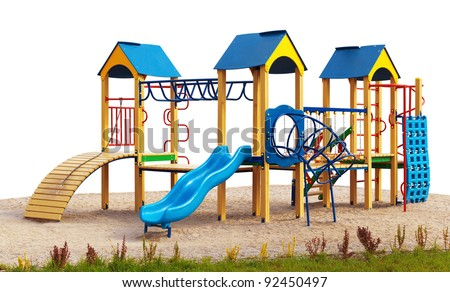 Playground without children. Isolated - stock photo