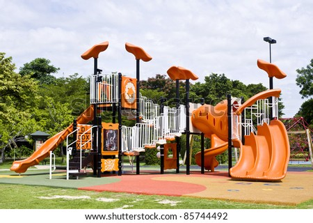 playgrounds in park - stock photo