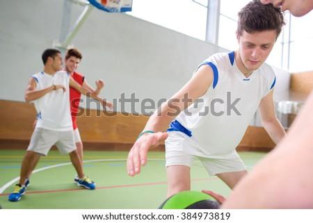 playing basketball - stock photo