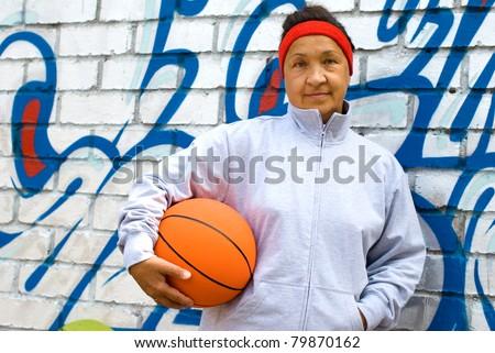 Playing basketball. Active seniors - stock photo