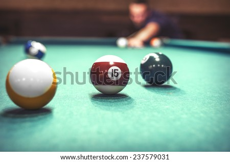 Playing billiard. Close-up shot of a man playing billiard.