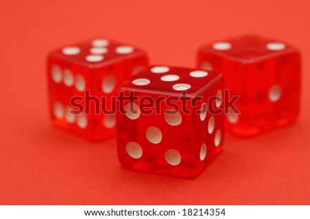 playing bone on red background - stock photo
