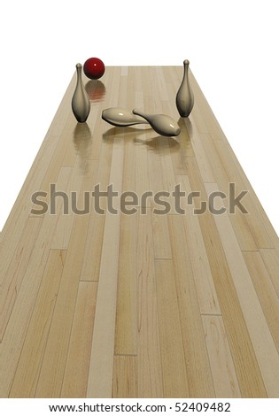 Playing bowling, pins knocked down by red ball - stock photo