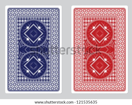 Playing Card Back Designs/Red and Blue Decks - stock photo