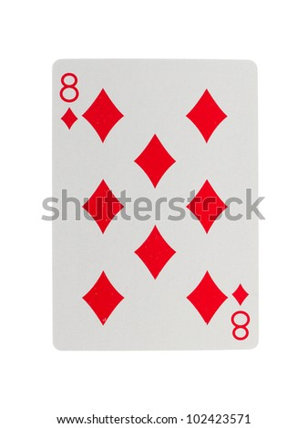 Playing card (eight) isolated on a white background - stock photo