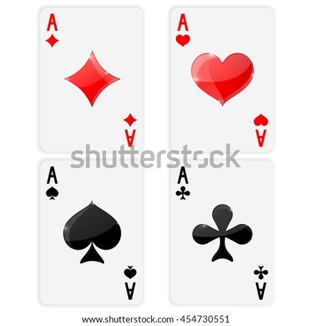 Playing cards. Ace of spades, clubs, hearts, diamonds. Card suits. Illustration on white background. Raster version
