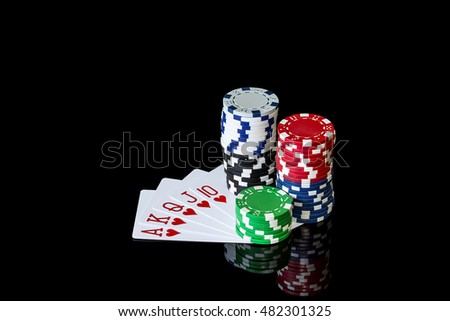 Playing cards and colorful chips to play poker