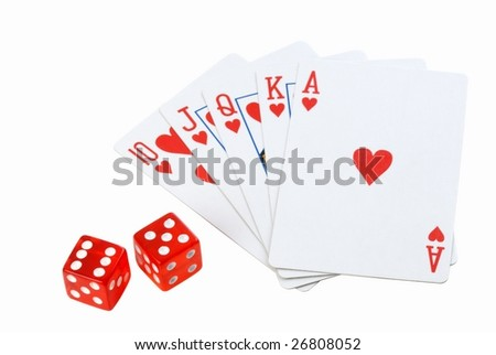 playing cards and dice isolated on the white