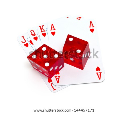 playing cards and dice isolated on white background - stock photo