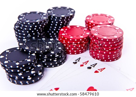 playing cards and poker chips on white background - stock photo