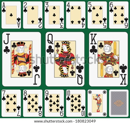 Playing cards club suit, joker and back. Faces double sized. Green background in a separate level in vector file - stock photo