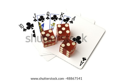 Playing cards, displaying a royal flush with clubs, and three dice. Isolated on white background, saved with clipping path
