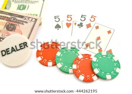 playing cards, dollars and chips on white - stock photo