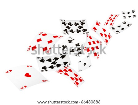 Playing cards falling on white background - stock photo