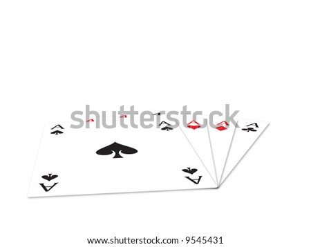 Playing cards four aces on a white background