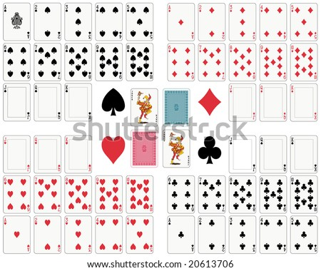 playing cards, full deck to customize (also available in vector format) - stock photo