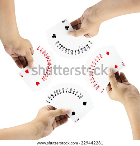 Playing cards Full set in the hand on a white background ,focused on cards - stock photo