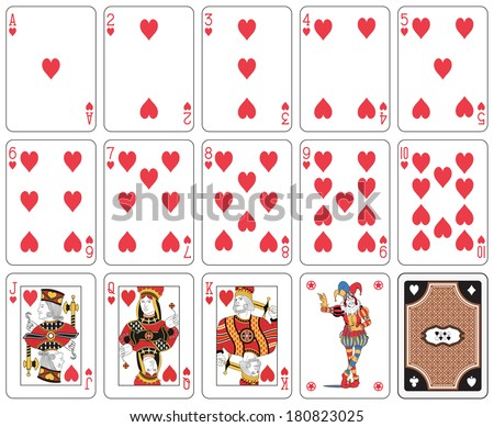 Playing cards heart suit, joker and back - stock photo