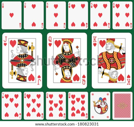 Playing cards heart suit, joker and back. Faces double sized. Green background in a separate level in vector file - stock photo