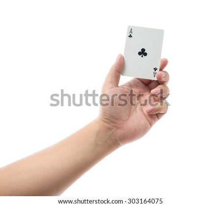 Playing cards in hand isolated on white background with clipping path