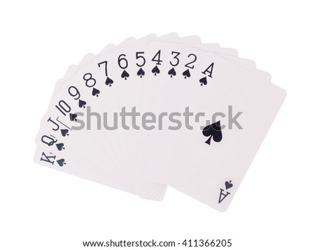 Playing cards isolated on white backgroun.  spades - stock photo