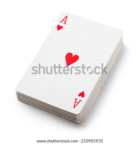 Playing cards isolated on white background. Clipping Path - stock photo