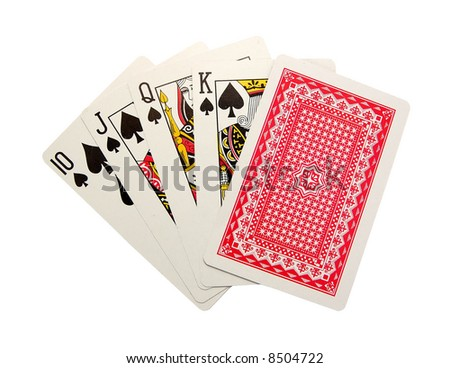 playing cards isolated - Royal Flush end The turned card - stock photo