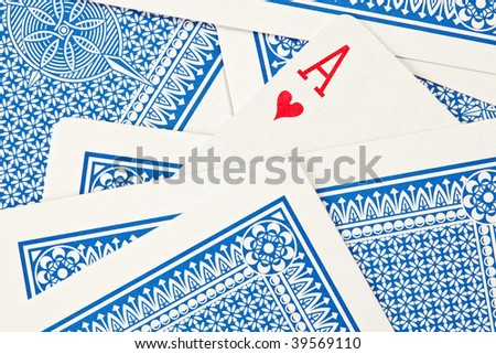 Playing cards lying upside down - stock photo