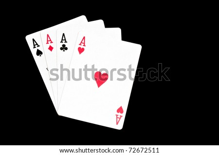playing cards on black background - stock photo