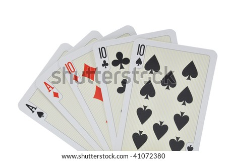 Playing cards over white