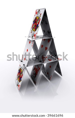Playing Cards Pyramid - stock photo