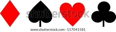 Playing cards signs isolated - stock photo